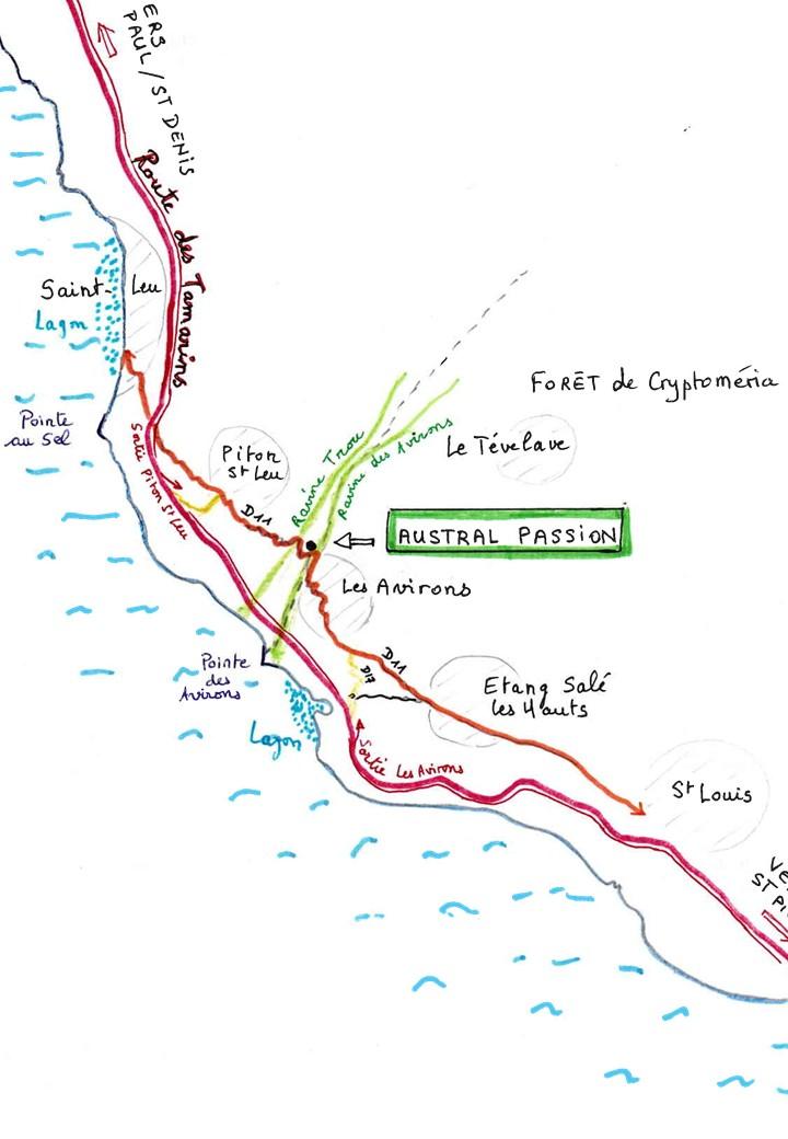 Plan Large Accès à Austral Passion - Location vacances saisonnière, Gite, Meublé de Tourisme, Hébergement